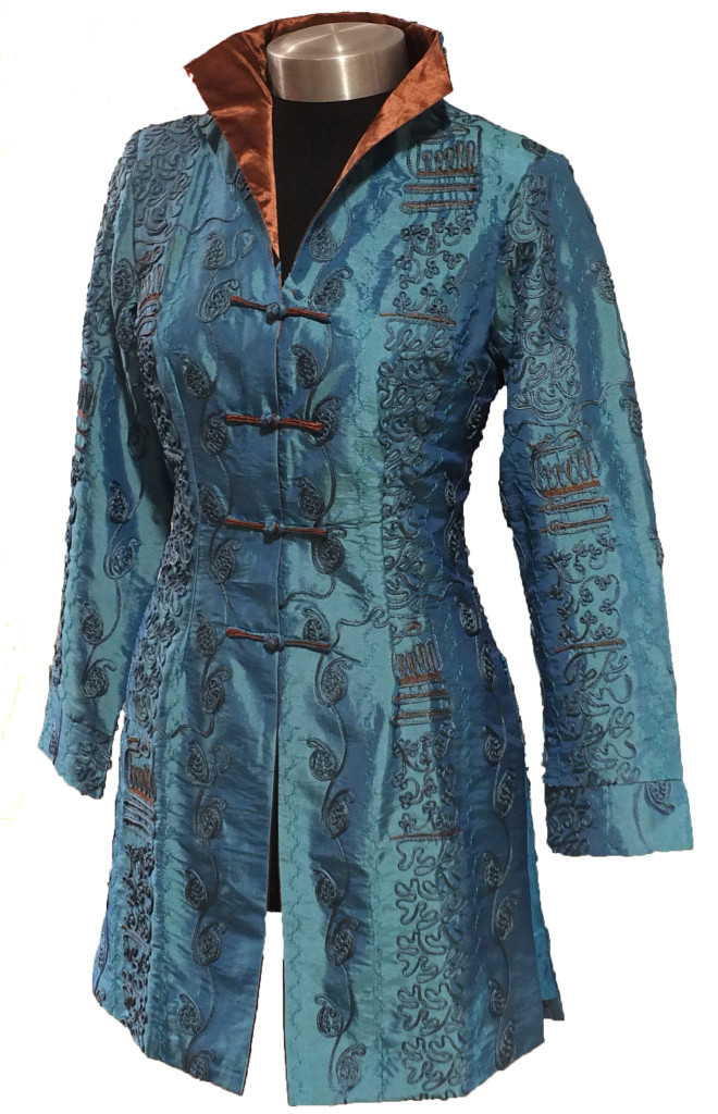 Teal Long Heavy Embroidered Jacket  Dynastic Art