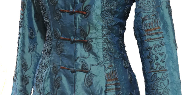 Teal Long Heavy Embroidered Jacket