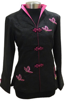 Black Jacket with Embroidered Pink Butterflies