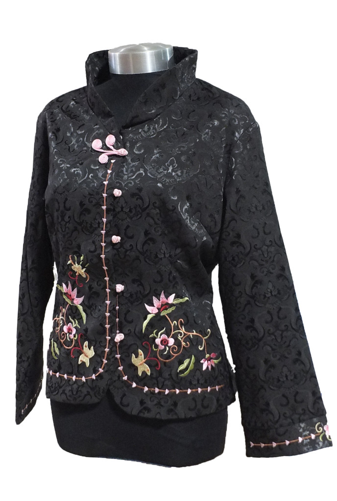 Black floral embroidered jacket dynastic art
