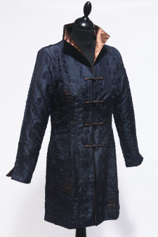 Navy Long Heavy Embroidered Jacket