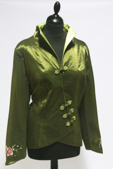 Green Asymmetric Jacket with Floral Embroidered Sleeve