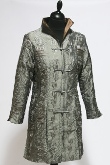 Silver/Grey Long Heavy Embroidered Jacket