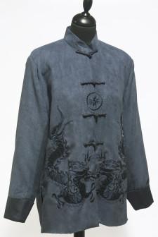 Blue Faux Nubuck Suede Jacket