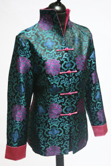 Blue and Green Short Jacket with Pink Detail