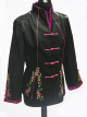Black Floral Embroidered Jacket with Pink Piping