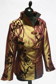 Short Bronze Jacket with Agapanthus Pattern