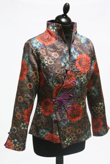 Dark Red Floral Asymmetric Jacket