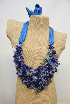 Large Blue Ribbon Wire Work Necklace by Lotus Feet