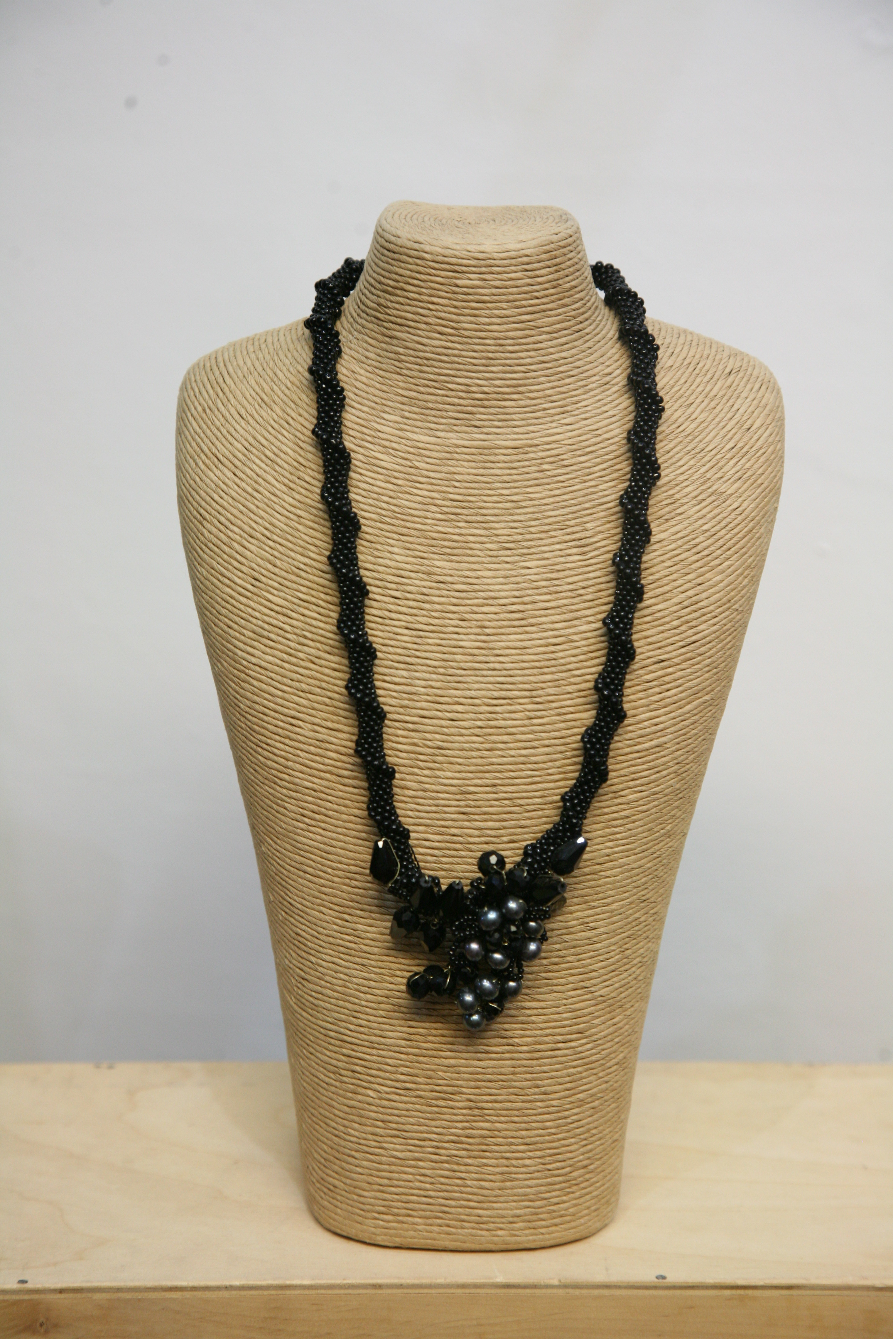 Black Beaded Necklace by Traid Nepal