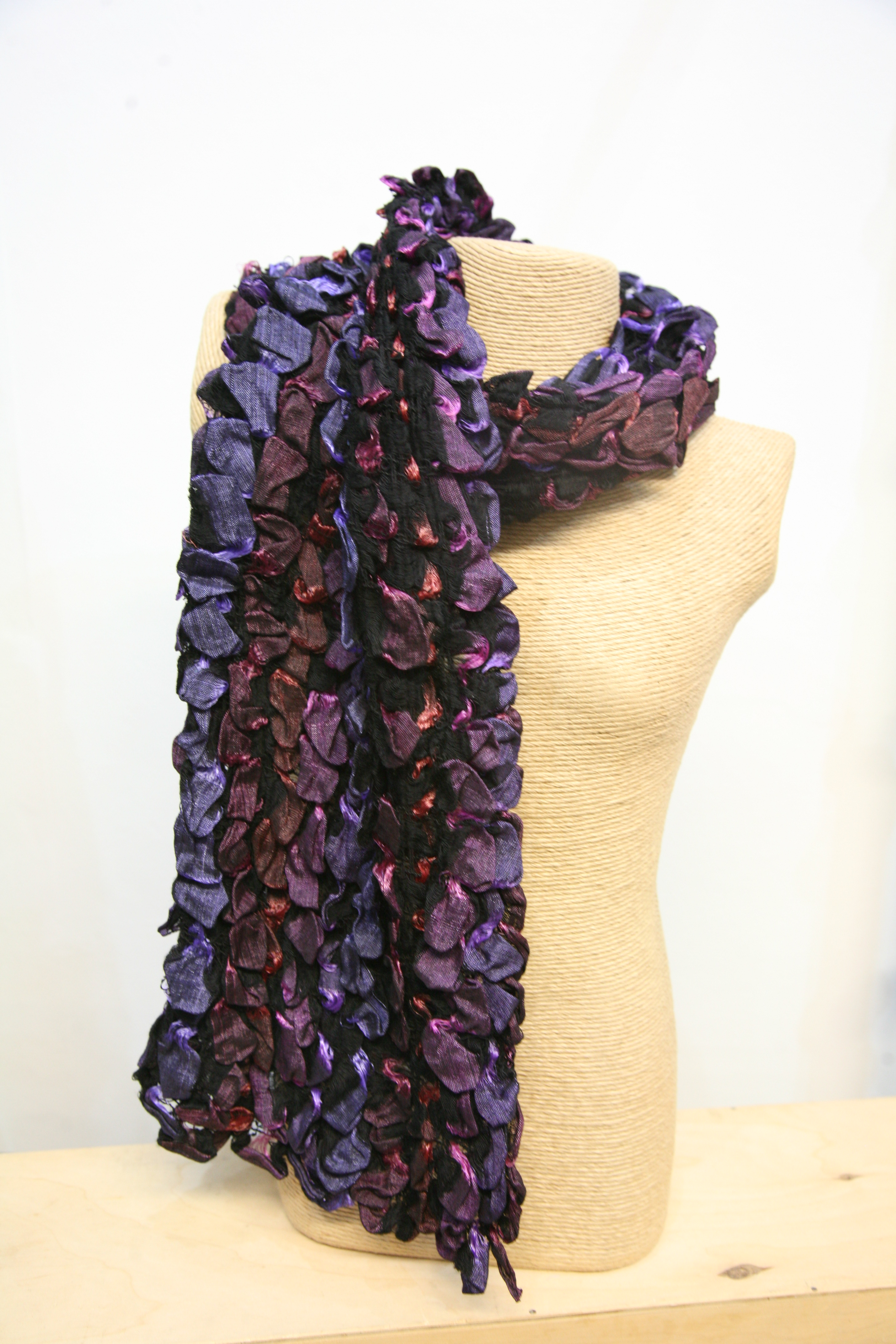 Silkthreads Ruffle Scarf – Red, Purple and Pink