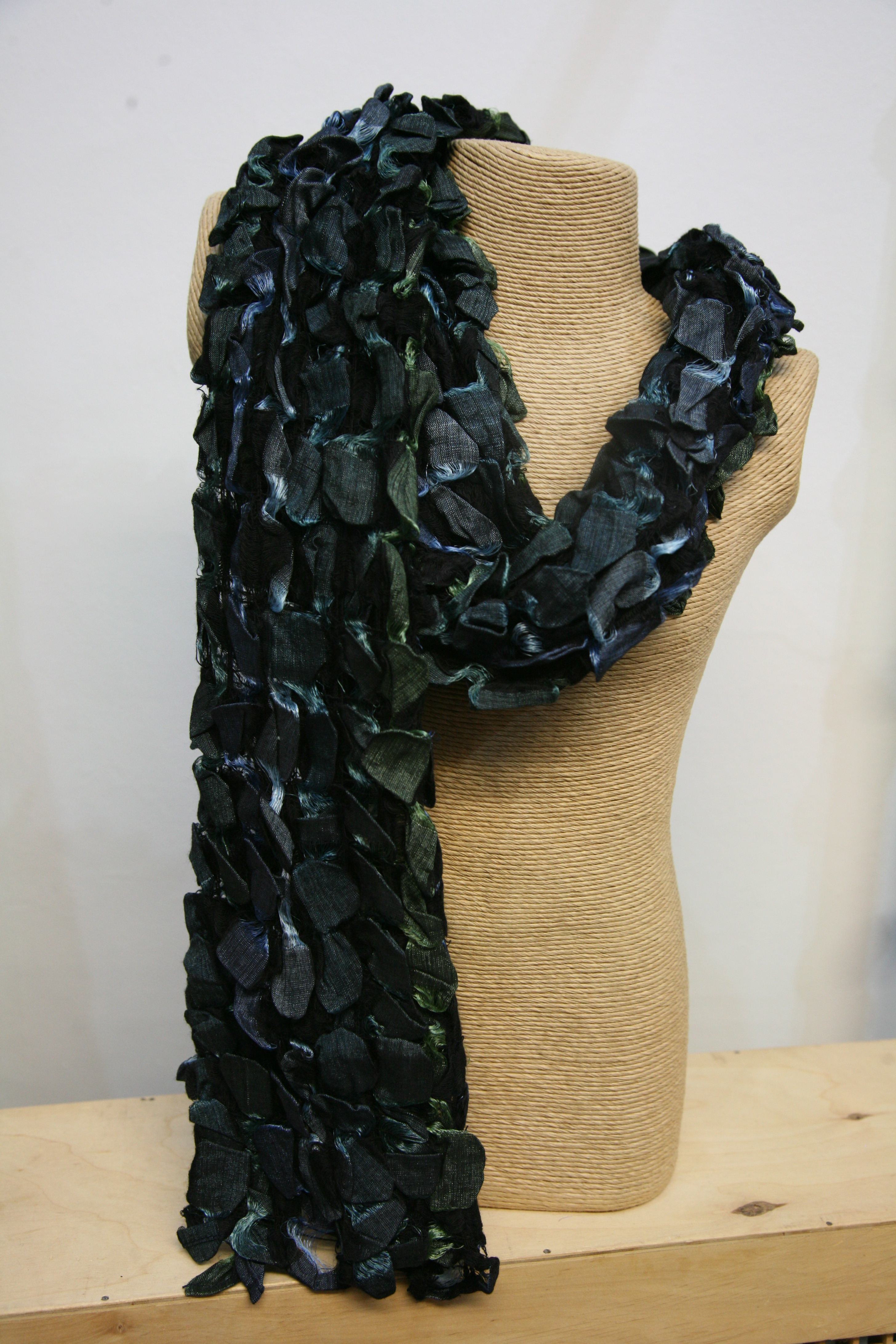 Silkthreads Ruffle Scarf – Blue and Green