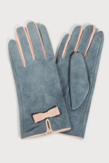 Light Blue Suede Gloves