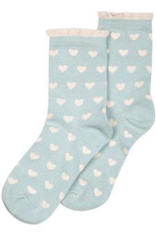 Heart Pale Green Socks