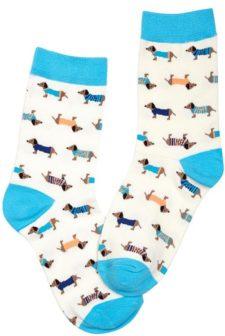 Dachshund Dog Turquoise Socks