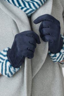 Zebra Print Navy Gloves