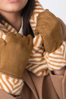 Zebra Print Mustard Gloves