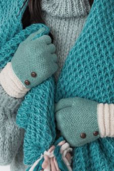 Duck Egg Gloves with Button Detail