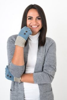 Blue Gloves with Button Detail