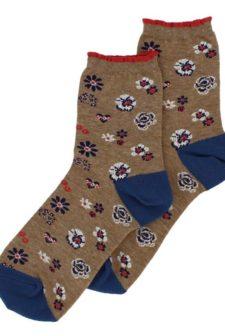 Pansy Floral Beige Socks