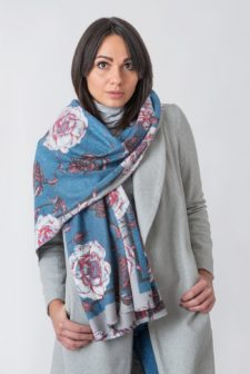 Blue Wrap with Rose Pattern