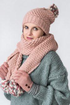 Pink Knitted Pom Pom Scarf