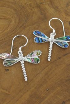 Silver Paua Dragonfly Earrings