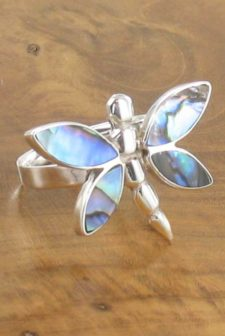 Silver Paua Dragonfly Ring