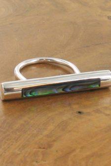 Silver Paua Bar Ring